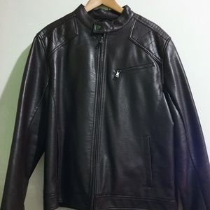 INC International Concepts Leather brown jacket